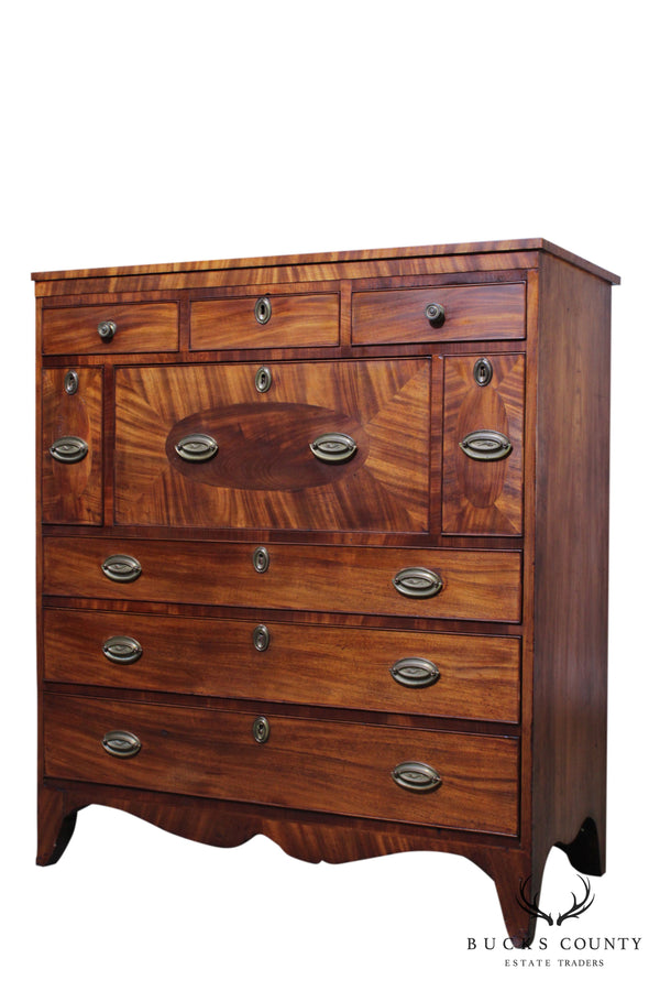 Antique 19th Century Mahogany Hepplewhite Chest with Brandy Drawers