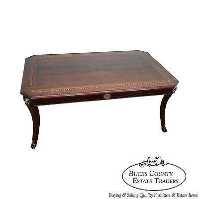 John Widdicomb Large Regency Style Inlaid Coffee Table