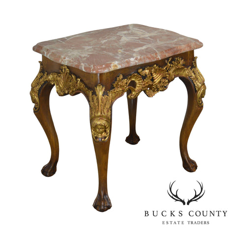 William Switzer Louis XIV Style Gilt Carved Marble Top Side Table