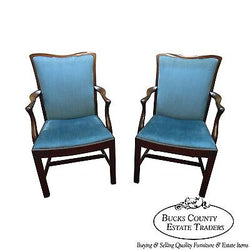 Schmieg & Kotzian Solid Mahogany Pair of Chippendale Style Arm Chairs
