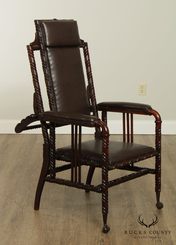 Hunzinger Antique Victorian Gothic Period Reclining Morris Chair
