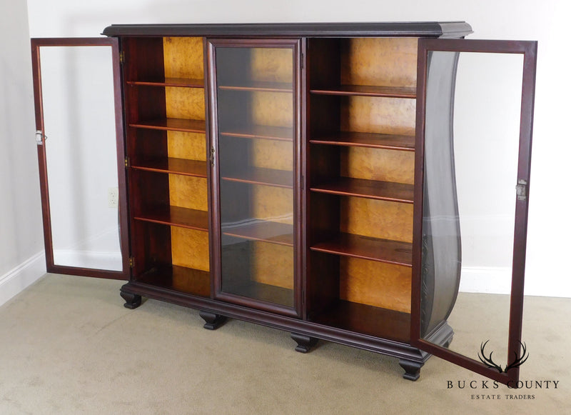 Forest City Furniture Co. Antique Curved Bombe Mahogany Victorian 3 Door Bookcase