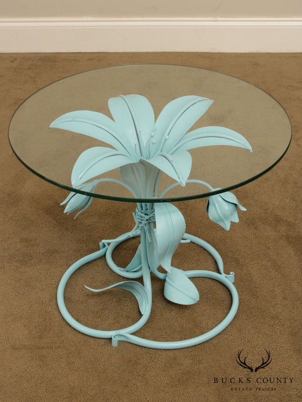 Mid Century Hollywood Regency Painted Lily Flower Round Glass Top Side Table