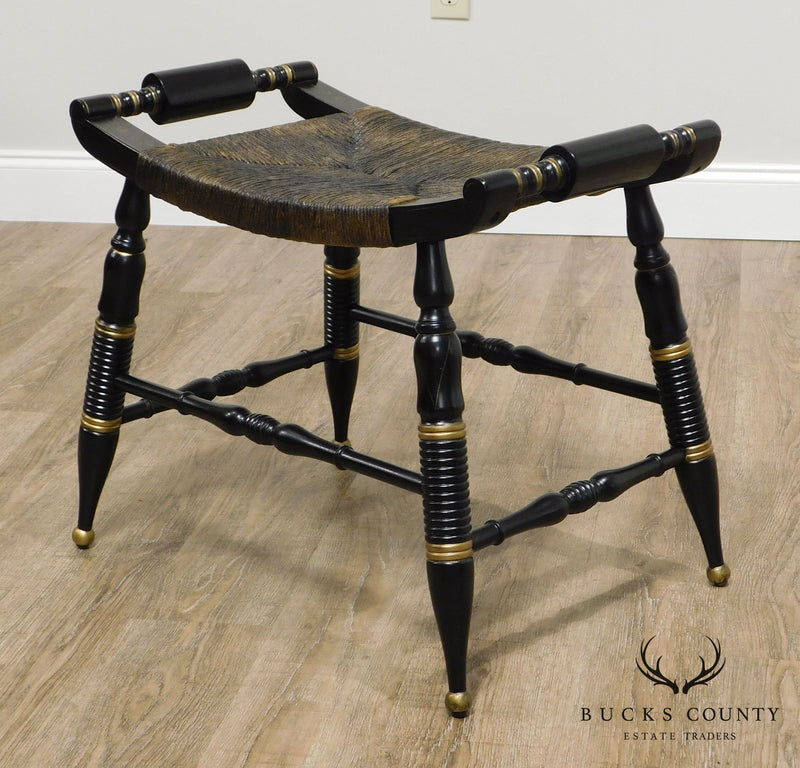 Hitchcock Style Vintage Pair Black & Gold Rush Seat Stools or Benches
