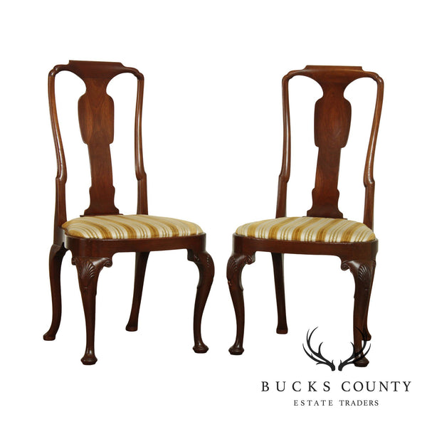 Custom Quality Vintage Pair Queen Anne Mahogany Side Chairs