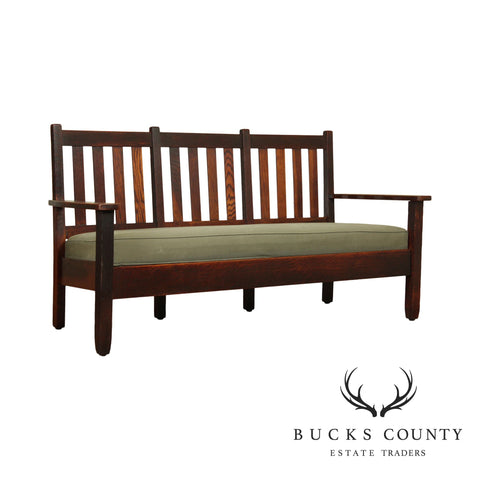 Stickley Brothers Antique Mission Oak Triple Back Settee