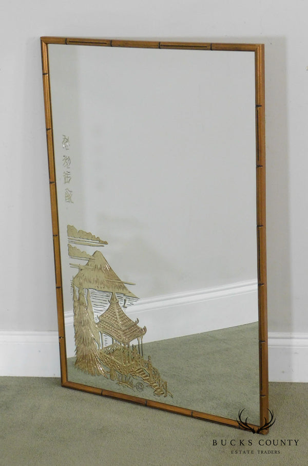 Asian Inspired Eglomise Faux Bamboo Frame Wall Mirror
