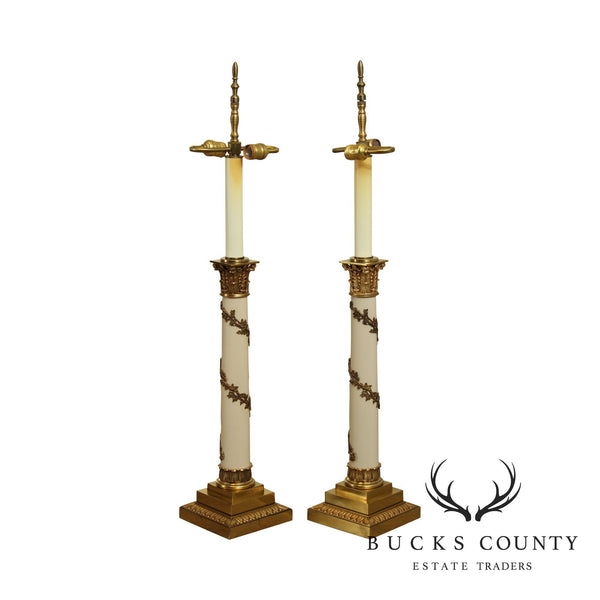 Stiffel Neo-Classical Style Pair Ivory Lacquered And Brass Column Table Lamps