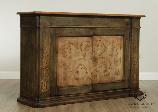 Italian Hand Painted Florentine Style 2 Door Console Cabinet