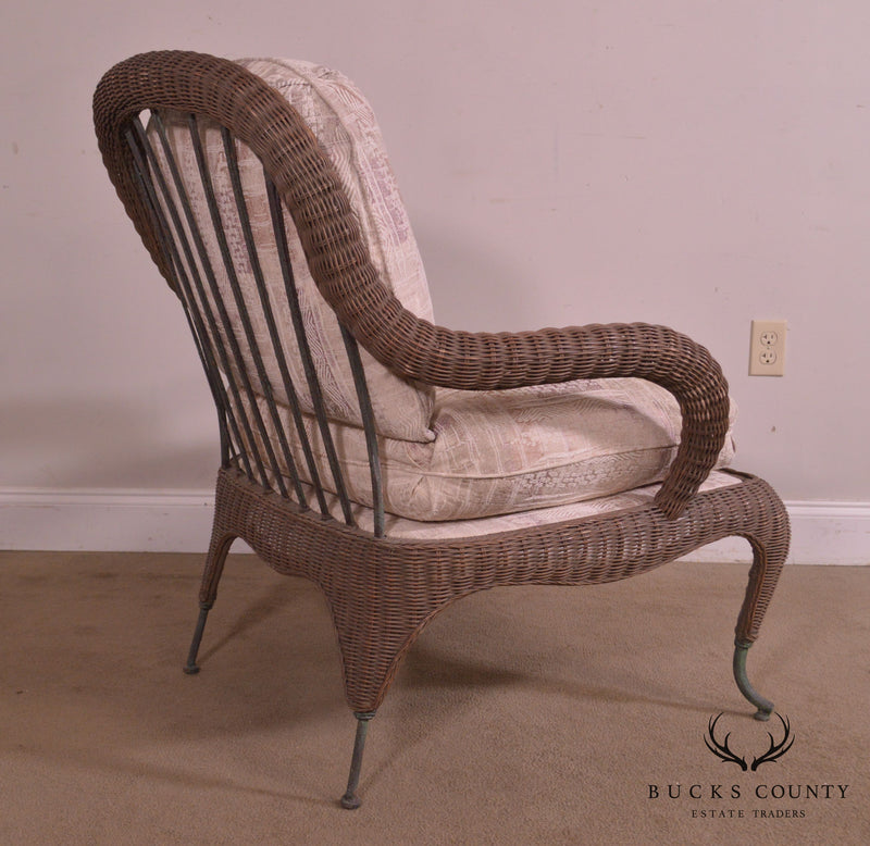 Century Hand Crafted Wicker Victorian Style Wrought Iron Lounge Chair Bucks County Estate Traders