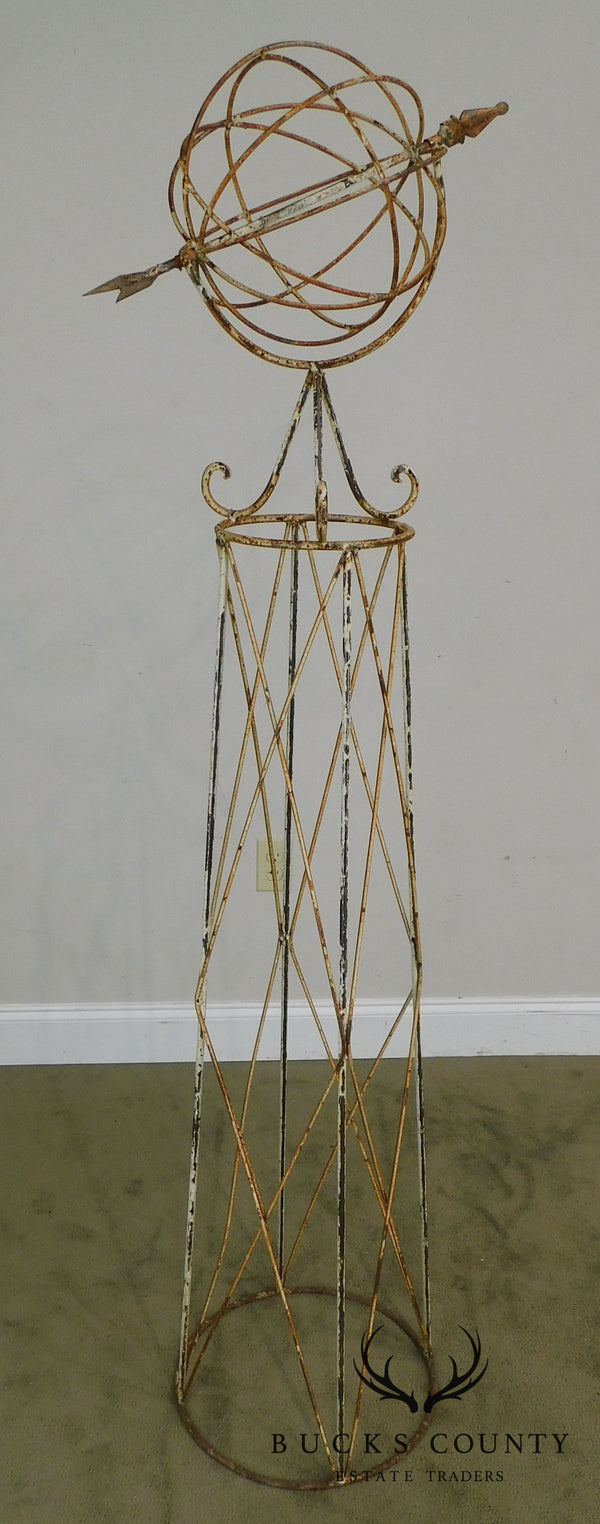 Vintage Wrought Iron Armillary Sphere Tall Garden Sculpture