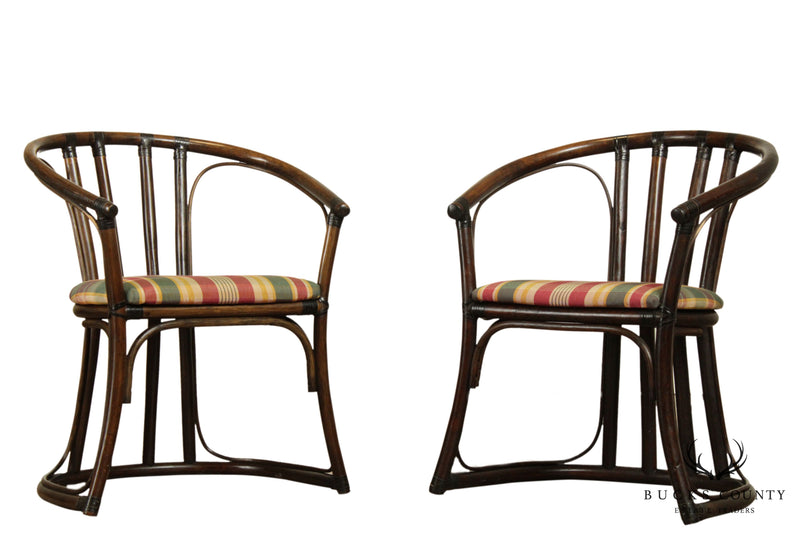 Ficks Reed Vintage Pair Rattan Curved Back Armchairs
