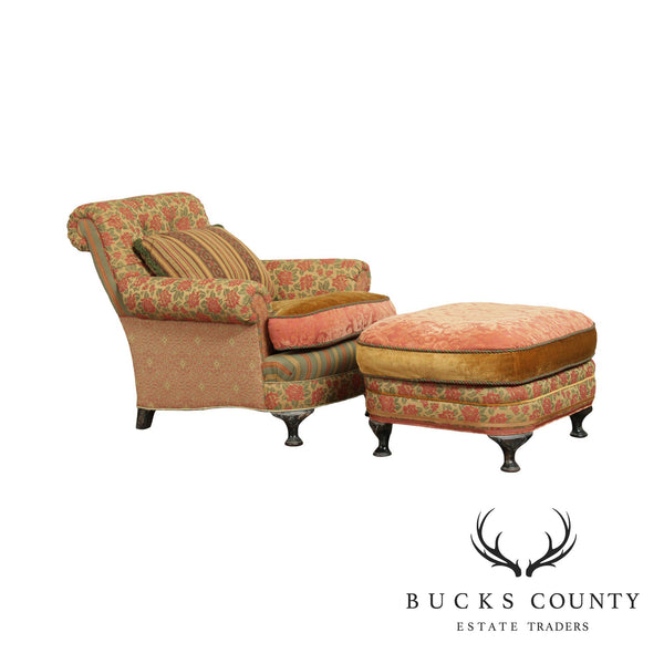 EJ Victor Carol Hicks Bolton Upholstered Chair with Ottoman