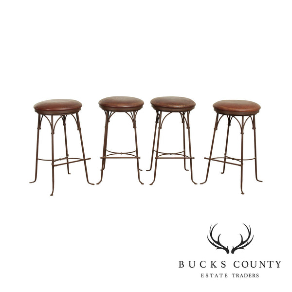 Charleston Forge Iron Set 4 'Shaker Arched' Backless Swivel Bar Stools