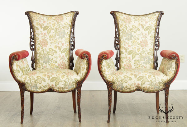 Grosfeld House Vintage 1940's Carved Mahogany Hollywood Regency Pair Fireside Chairs