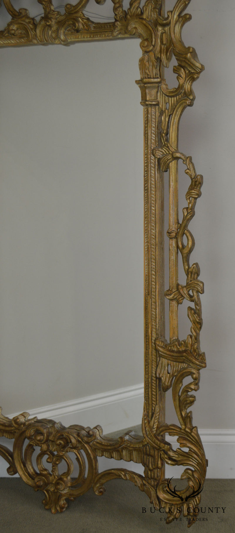 Chinese Chippendale Pagoda Top Italian Carved Gilt Wood Wall Mirror