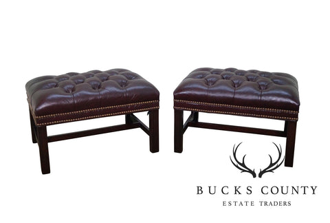 Hancock & Moore Pair Tufted Leather Chippendale Style Chesterfield Ottomans