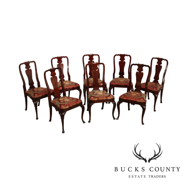 Kindel Mahogany Set 8 Custom Upholstered Dining Chairs