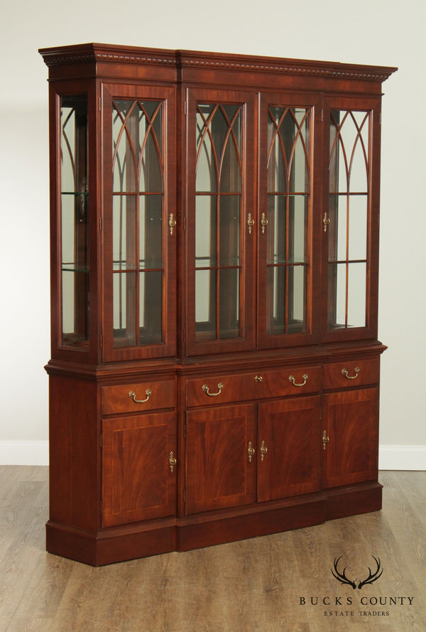 Ethan Allen 18th Century Mahogany Collection Breakfront China Cabinet