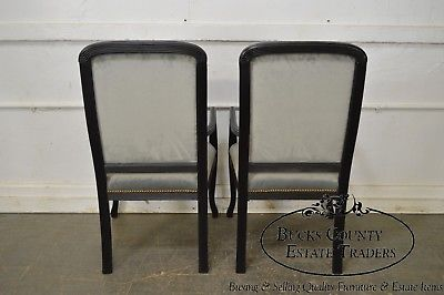 Hollywood Regency Black Paint Frame Arm Chairs