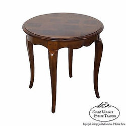 Henredon Round Louis XV Style Parquet Top Side Table