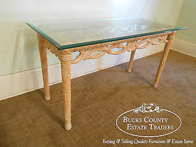 Carved Naturalistic Solid Maple Glass Top Sofa Table