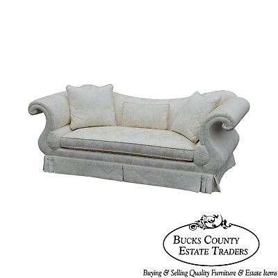 Baker French Empire Style White Damask Upholstered Sofa