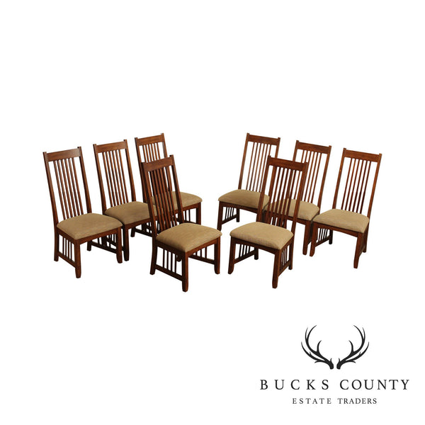 Mission Style Set 8 Spindle Back Dining Chairs