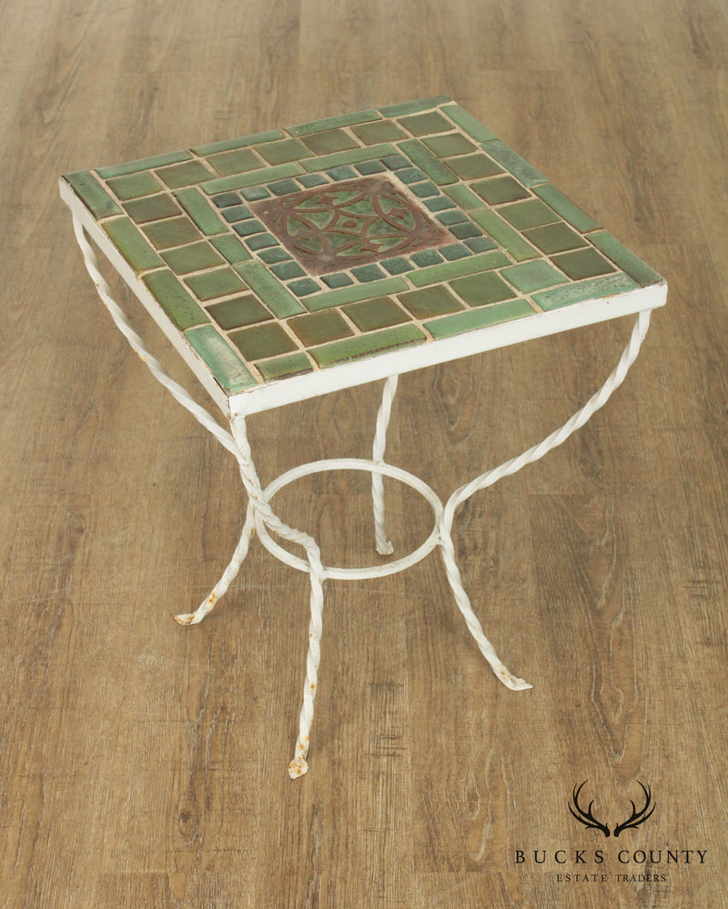 Antique Arts and Crafts Period Green Tile Top Wrought Iron Side Table