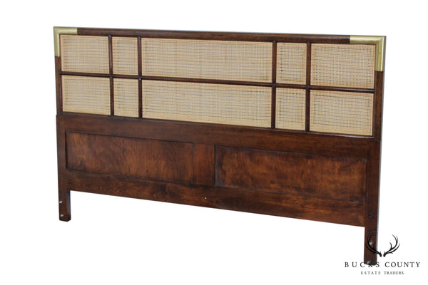 Mid Century Asian Influenced Queen Size Cane Back Headboard