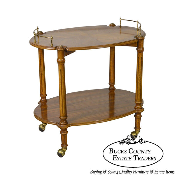 French Louis XVI Style Oak Rolling Serving Cart by Butler