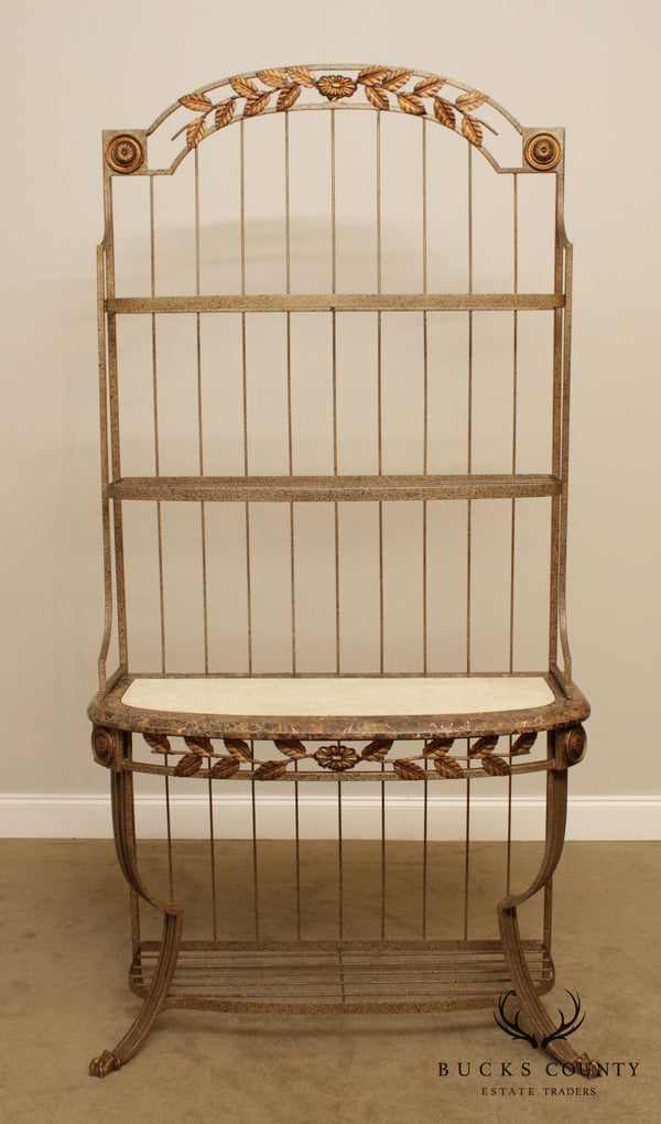 Regency Style Wrought Iron Bakers Rack, Tessellated Marble