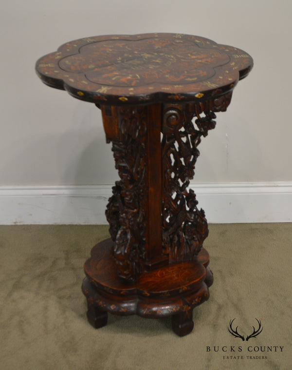 Antique Marquetry Inlaid Asian Hardwood Pedestal Table Labeled Old Times Furnishing Co.