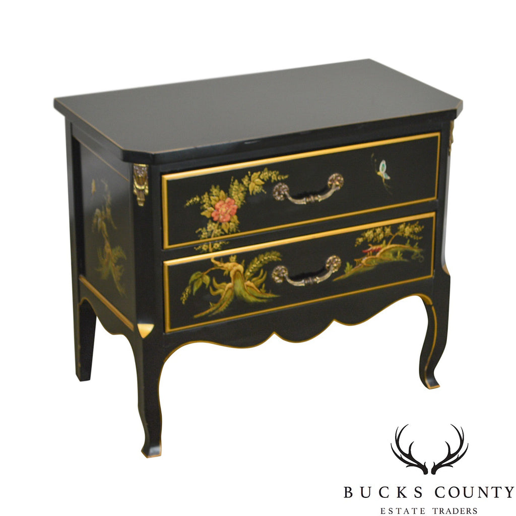 on sale ee732 c8385 Chinoiserie Black Lacquer Painted Vintage Louis XV Style ...
