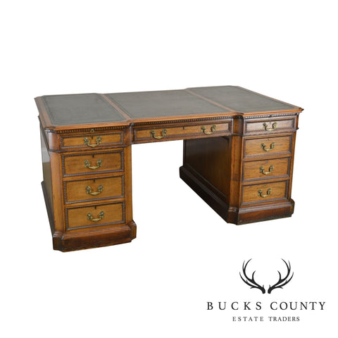 Georgian Mahogany Antique English Leather Top Partners Desk, Gill & Regal London