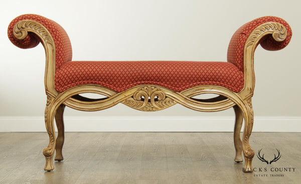 Design Source Modern Baroque Style Carved & Upholstered Bench
