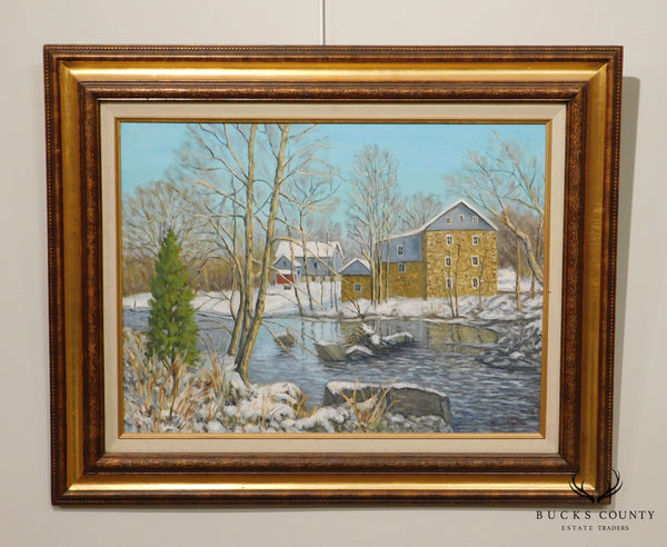 "Mildred S. Gehman ""Clymer's Mill"" Thatcher P.A., Winter Snowy Stream Oil Painting"