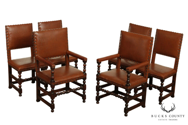 Antique Jacobean Revival Style Set 6 Walnut Bobbin Turned Dining Chairs