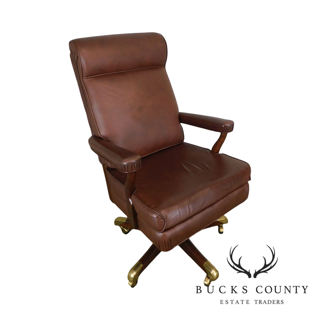 Astounding Gunlocke Brown Leather Executive Desk Chair Bucks County Pabps2019 Chair Design Images Pabps2019Com