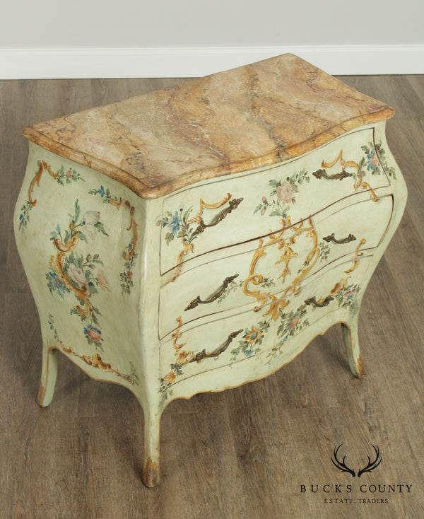 Antique 19th Century Italian Venetian Painted Bombe Commode Chest