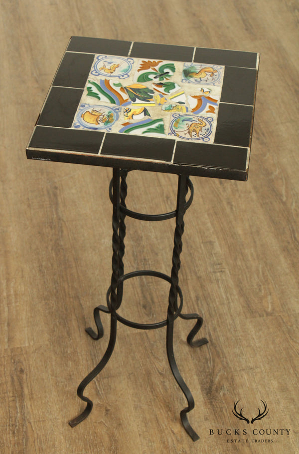 Arts & Crafts Vintage Mosiac Tile Top Side Table