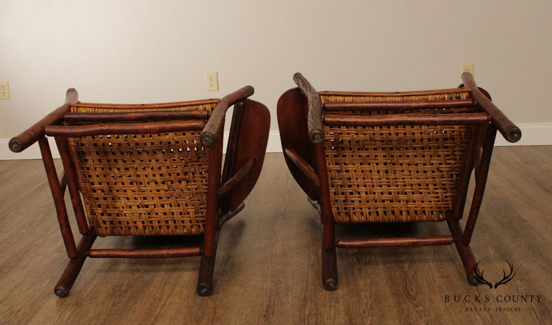 Old Hickory Antique Pair Pair Paddle Arm, Armchairs