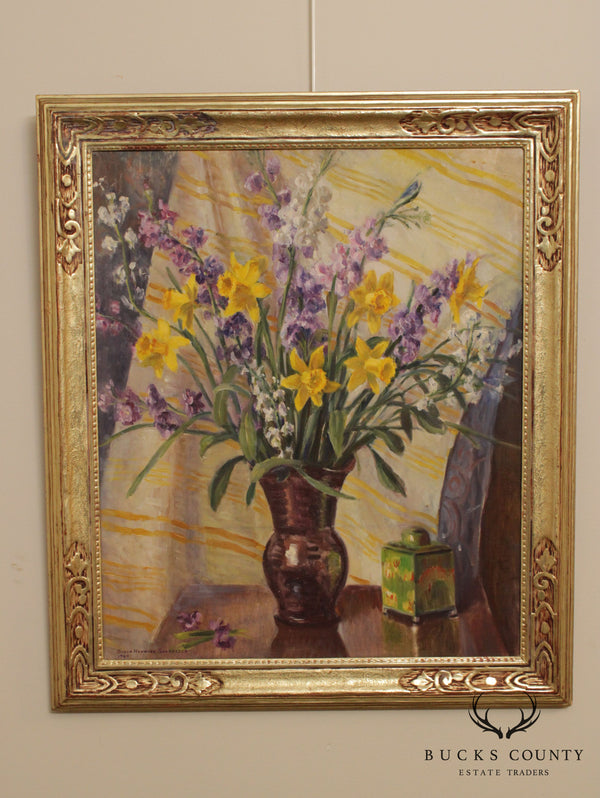 Susan Hayward Schneider Oil on Canvas Still Life Daffodils Flowers, Maurice Fincken Frame