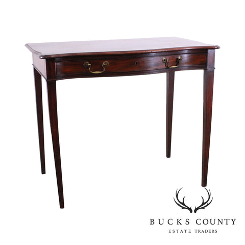 Federal Period Antique 1820's Mahogany Serpentine One Drawer Console Table