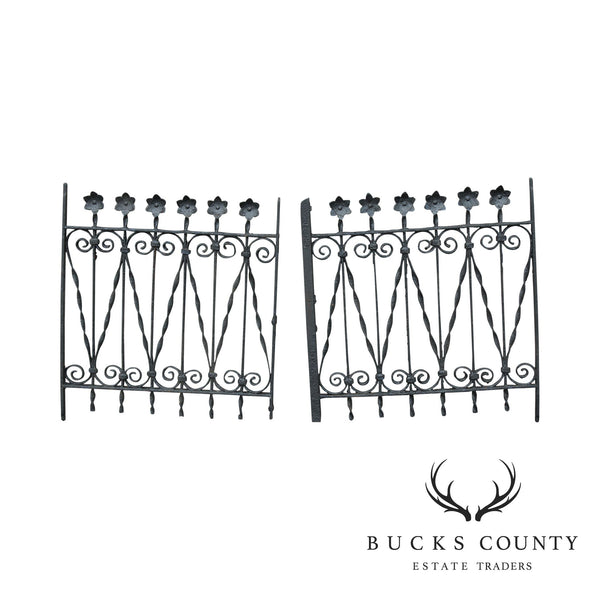 Antique Pair Wrought Iron Garden Gates