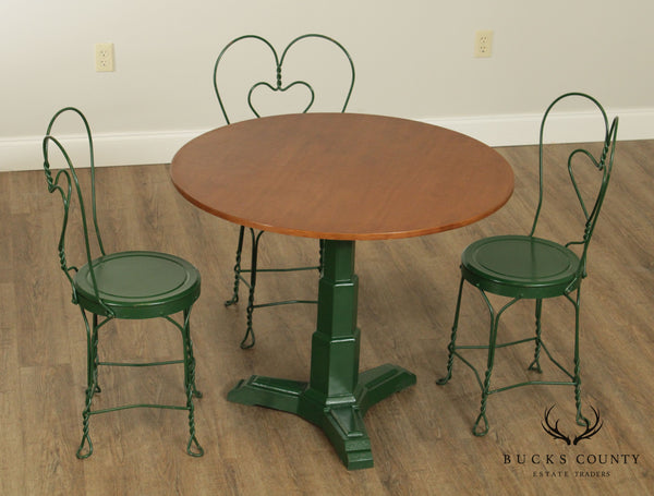 1930's Art Deco 4 Piece Ice Cream Parlor Bistro Set, Round Table + Chairs