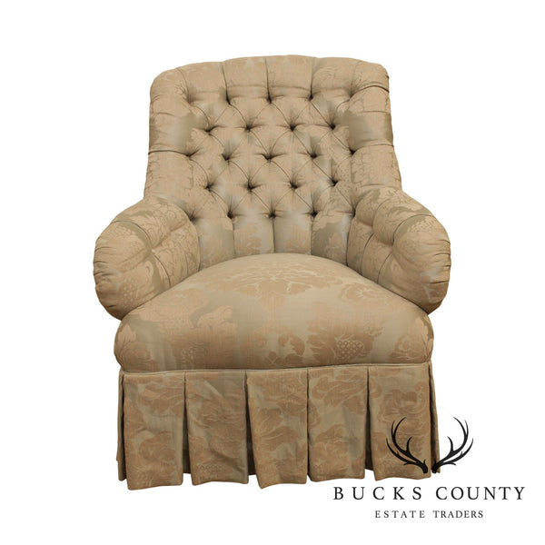 Henredon Natchez Schoonbeck Damask Upholstered Tufted Chair