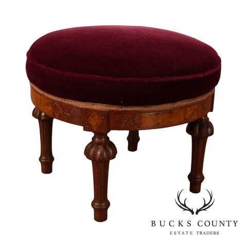 Victorian Antique Walnut Round Upholstered Footstool