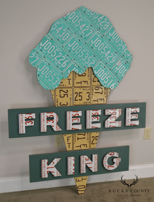 "Aaron Foster Design ""Freeze King"" License Plate Ice Cream Cone Wall Sculpture Sign"