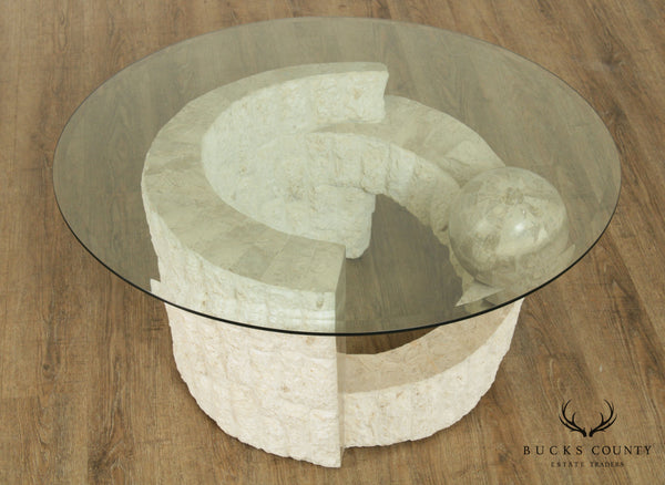 Postmodern Tessellated Marble Round Glass Top Coffee Table
